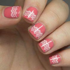 lace nail art 31 - 50+ Intricate Lace Nail Art Designs