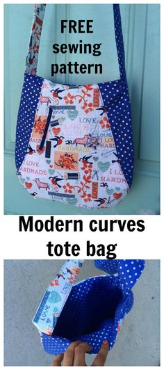 FREE modern curves tote bag sewing pattern. This is a great, easy to sew pattern.