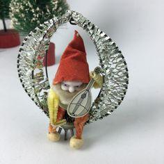 Shiny Brite silver wire wrapped elf gnome musician pinecone ornament vintage…