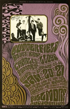 The Butterfield Blues Band at the Fillmore Auditorium, concert poster, January 1967. - Poster Design