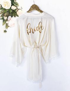 Bride Robe Personalized - Bride Robe Cotton - Mrs Robe - Mrs Gifts - Bridal Shower Gift for Bride Getting Ready Robe by ModParty Bridal Shower Gifts For Bride, Bridal Party Robes, Gift Wedding, Wedding Favors, Gifts For The Bride, Wedding Sparklers, Wedding Cookies, Wedding Songs, Wedding Night