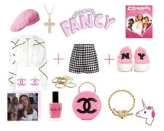 """""""clueless contest"""" by supabebek ❤ liked on Polyvore featuring Moschino, Emma Cook, kangol, Lauren B. Beauty, Chanel, Noir, Ross-Simons, Kendra Scott, Joshua's and Pink"""