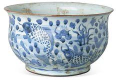 Round Fish Design Flower Pot - Porcelain on OneKingsLane.com round fish, blue, flower pots, flowers, fish design, design flower