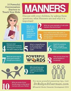 Manners - 10 powerful conversation starters to teach your kids