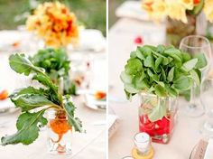 vegetable center piece! cute idea for summer especially if it is from your own garden!