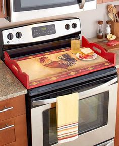Add extra surface area to your kitchen with this Decorative Wooden Stove Top…