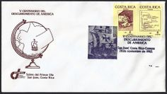 "Costa Rica First Day Cover Scott #394a (pair 393-394) issued 20 Nov 1987 as Discovery of America issue. Scott #393 shows 16th century map of Honduras, Nicaragua, Costa Rica and Panama, believed to be Asia by Columbus. Scott #394 shows Costa Rica on 1503 map as ""Asia"" by Bartholomew Columbus, brother of Christopher Columbus. Galleon pictorial cancellation ties stamps to cover."