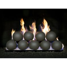 The RealFyre 4 Inch Fyre Spheres Vented Contemporary Gas Set are the modern alternative to gas logs that you're looking for! Fireplace Damper, Vented Gas Fireplace, Gas Fireplace Logs, Gas Fire Logs, Contemporary Gas Fires, Fire Rocks, Fire And Stone, Ceramic Fiber, Home Room Design