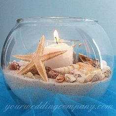 Beach wedding centerpiece idea. Use colored sand to tie in with your wedding colors.