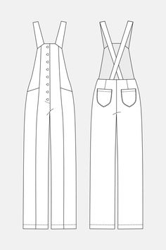 Bly Overalls pattern from Named Clothing Fashion Design Template, Pattern Fashion, Fashion Design Drawings, Fashion Sketches, Doll Clothes Patterns, Clothing Patterns, Named Clothing, Patterned Jeans, Modelista
