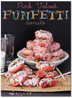 Pink Velvet Funfetti Donuts on MyRecipeMagic.com #donuts #funfetti #pinkvelvet
