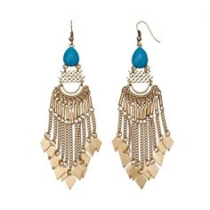 GS by gemma simone Sun Salutation Collection Fringe Drop Earrings, Teens, Blue