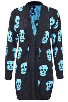 Skull Print Open Knitted Cardigan