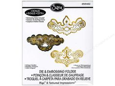 """Bigz Die with Textured Impressions Antique Handles by Jen Long includes a cutting die and embossing folder for 3 different ornate face plate shapes. Sizzix Dies help eliminate all that tedious and time consuming hand cutting. Great for cardstock, chipboard, fabric, foam, magnet, leather, metallic foil and paper. Designs measure approximately 1 3/8"""" x 1 3/8"""" to 3 7/8"""" x 2 1/8"""". Compatible with the BIGkick, Big Shot, and Vagabond cutting machines."""