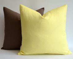Sukan / SET 2 piece Linen pillow cover yellow brown door sukanart