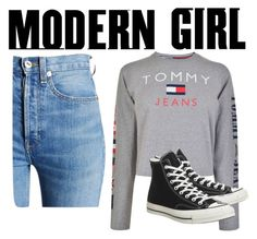 """Untitled #143"" by wakawaka on Polyvore featuring Tommy Hilfiger, RE/DONE and Converse"