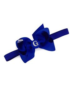 Love this Electric Blue Initial Bow Stretch Headband on #zulily! #zulilyfinds