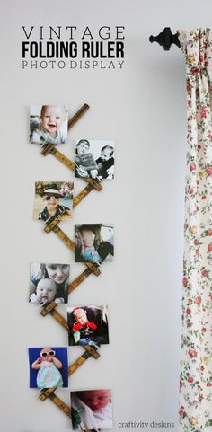 Folding Ruler Photo Display, DIY Photo Display Idea using a Vintage Folding…