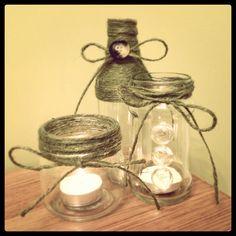 ORANGE twine craft jars and bottles