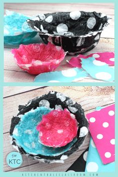These easy paper mache bowls come together quickly and with a super fun pattern thanks to an unlikely supply list! Napkins to create an unexpected pop! Writing Prompts For Kids, Creative Writing, Projects For Kids, Crafts For Kids, Paper Mache Bowls, Making Paper Mache, Paper Mache Projects, Paper Ring, Kids Watercolor