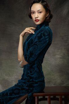 Embrodered Flowers Cheongsam Style Velvet Dress - $309 - SKU: 567932 - Custom Now: http://elegente.com/redshop.html #REDPALACE #Cheongsam #Qipao