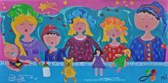 Veelzijdig kleurrijk kunstenares Mir/ Mirthe Kolkman waaronder. deze serie.  kleurrijk kunstwerk  gezellige vrolijke kunst  art schilderen portretschilderij familie dagelijks tafereel schilderij paintings colourfulartworks