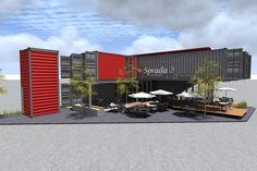 Foghound Studios, Coffee Shop & Showroom - Containers Shipping Container Office, Shipping Container Conversions, Shipping Container Home Designs, Container House Design, Shipping Containers, Building A Container Home, Container Buildings, Container Architecture, Architecture Design