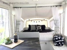 This pop up camper makeover is a mix of old and new elements. Jacque took the original cushions and designed her theme around the southwestern print.