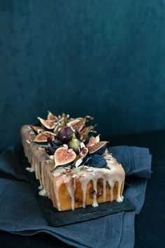 Fig Almond Tea Cake w Coconut Honey Glaze. Almost too pretty to eat, almost...