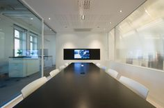 Office Interior Design Inspiration in Future Own Business Office: Office Interior Design Inspiration Large Screen Television White Chairs