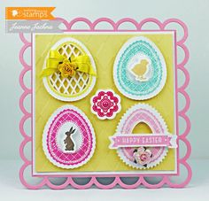 Jeanne Jachna: A Kept Life – Waltzingmouse March Release - A Good Egg - 3/5/13.  (Stamps:  Waltizngmmouse A Good Egg Dies:  Waltzingmouse Good Egg Cut Files, Lifestyle Crafts Nesting Lace Squares).