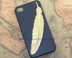 Golden angle Feather iphone case,little owl case for iPhone 4 Case, iPhone 4s Case, iPhone 4 Hard Case B. $7.99, via Etsy.