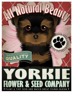 Dogs+and+Flowers+Art+Print++Yorkshire+Terrier+by+DogsIncorporated,+