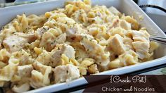 table for seven: {Crock Pot} Chicken and Noodles  5 simple ingredients to throw in the crockpot! Easy peasy