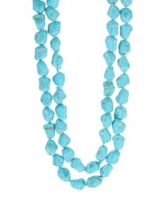 Take a look at this Turquoise Raw-Cut Bead Necklace today!