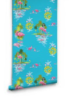 Flamingo Day Wallpaper designed by Kingdom Home