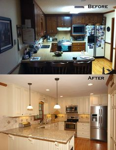 Kitchen dark to light! LOVE
