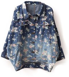 Floral Seven Sleeves Flipped Denim Coat