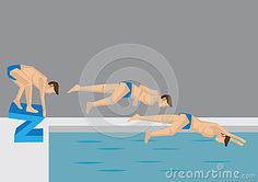 Diving Action Sequence Vector Illustration