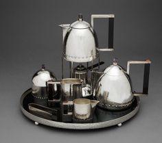 Josef Hoffmann (Austria, 1870-1956) Tea in silver, ebony, amethyst and carnelian - circa 1910