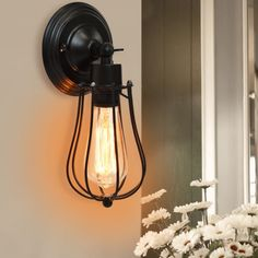Retro-Vintage-Antique-Industrial-Wall-Lights-Rustic-Wall-Sconce-Lamp-Iron-Cage