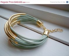 20 Valentines Day SALE Light Green Leather Cuff Bracelet by BALOOS, $32.00