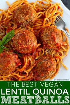 Baked lentil meatballs are perfectly tender on the inside, firm on the outside, & loaded with so much flavor! This will be your go-to vegan meatball recipe! Vegan Appetizers, Vegan Dinner Recipes, Whole Food Recipes, Vegetarian Recipes, Cooking Recipes, Healthy Recipes, Vegan Quinoa Recipes, Lentil Meatballs, Vegetarian Meatballs