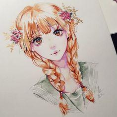 девушка рисунок акварель
