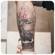 Tattoos by sailboat tatuyiseuteu River.  Sailing Ship tattoo