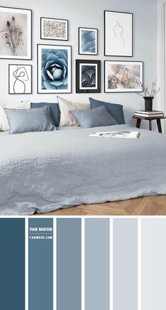 Light Blue Rooms, Light Blue Bedding, Light Gray Bedroom, Gray Bedroom Walls, Blue Grey Walls, Blue Wall Colors, Blue Color Schemes, Blue And Grey Bedding, Blue Color Combinations