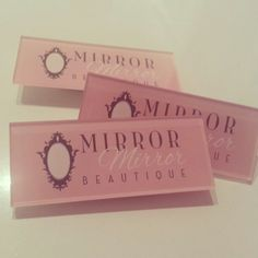 Name / Logo Badge can have either a pin or magnetic fastening the perfect way to build brand itentity to your business. Mirror Mirror Bridal Boutique based in Chesterfield, Derbyshire. Professional Hair and Make Up Artists offering bridal hair and make up for brides to be! www.bimbodesign.co.uk
