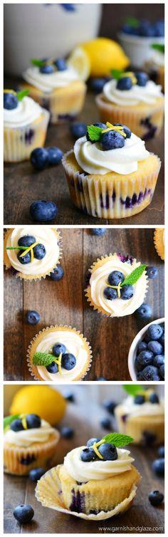 Lemon Blueberry Cupcakes | Garnish & Glaze