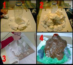 Hacemos un volcán en clase