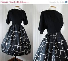 ON SALE Vintage 1950s Dress ODALISQUE Black and by jumblelaya, $118.40